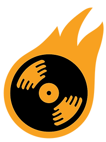 record spinning on fire