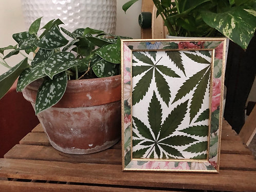 Pressed leaf collage in floral print frame 6in x 8in