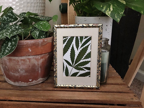 Pressed leaf collage in golden floral frame 5in x 7in