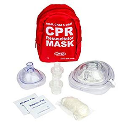 First Aid Adult and Infant CPR Mask Combo Kit with 2 Valves (With Pair of Nitri