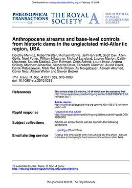 Merritts et al 2011 Anthropocene streams