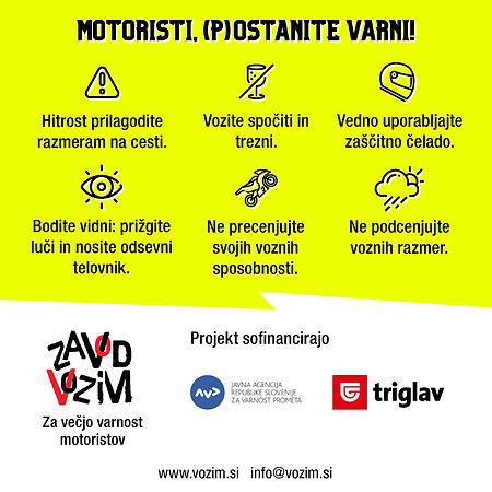 (p)ostani varen motorist zadnja stran etikete