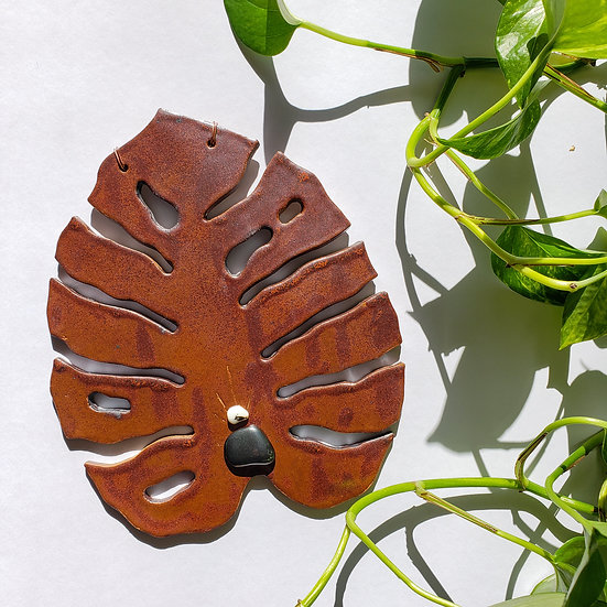 Monstera Wall Hanging with Hematite and Yellow Opal
