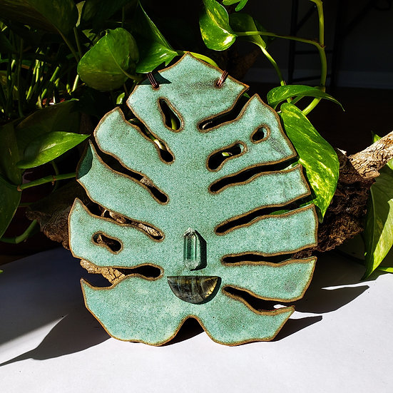 Monstera Wall Hanging with Labradorite and Quartz Crystal