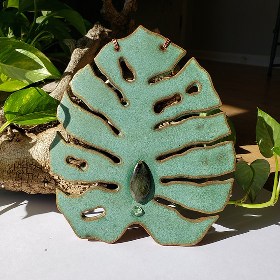 Monstera Wall Hanging with Labradorite and Golden Labradorite