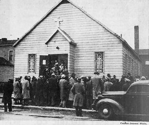 Church Dedication Service at 1942 Cedar Street where 350 attended - under then Elder Claude Griffith.