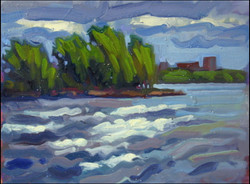 rain painting ottawa river