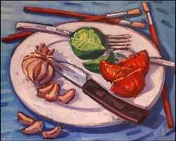 still life with brushes
