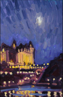 chateau laurier under moonlight