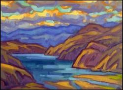 desert lake sunset view