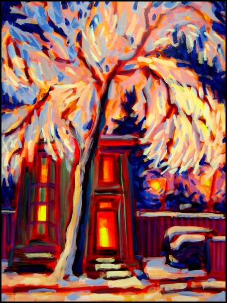night snow tree