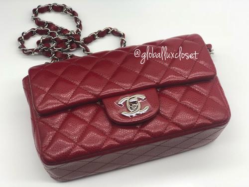 4f20b378ca7c Chanel 12A Red mini rectangular flap bag