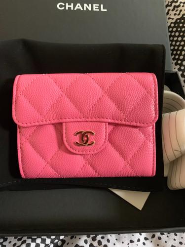 3a47b319c873 Chanel 19C Dark Pink XL Card Holder with Mona Lisa Pocket Brand new full set