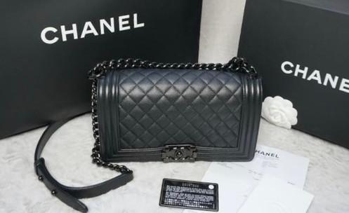 78f8587e6411 Authentic CHANEL Old Medium Boy SO BLACK Iridescent Grained Calf skin  Caviar Leather bag.