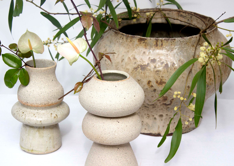 Two Vases with Large hand built vessel