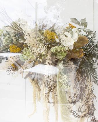 Hanging floral installion at The Orangerie Noosa