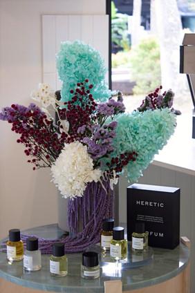 Custom dried arrangement for perfume display