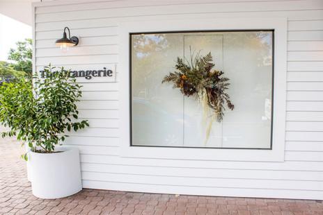 Hanging floral window display