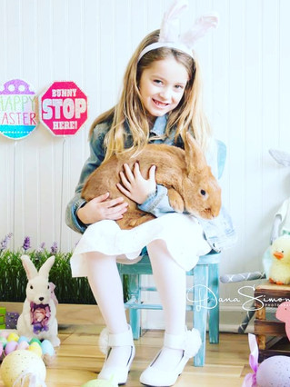 easter portrait with real  bunny