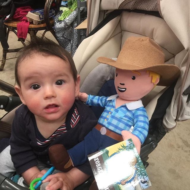 George the Farmer making friends at Carriage Works Market