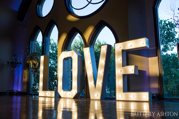Love marquee letters at the beautiful Vesica Piscis Chapel in Tulsa