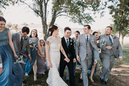 Wedding party at Glass Chapel in Broken Arrow