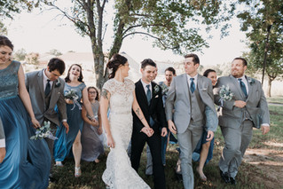 Wedding party at Glass Chapel in Broken Arrow