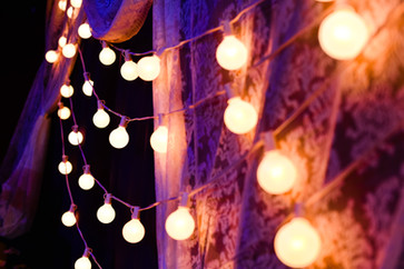 Wedding Cake Cutting Backdrop at Cains Ballroom - Lights and DJ provided by Banks Entertainment