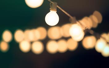 Oklahoma Outdoor wedding bistro lights, dj and lights by Banks Entertainment
