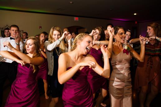 Bridesmaids dancing at Vesica Piscis chapel, wedding dj by Banks Entertainment