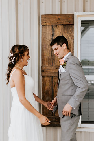 Couples First Look at Steel Barn Event Center
