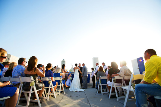 Wedding Ceremony on rooftop in Downtown Tulsa