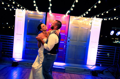 First Dance in Downtown Tulsa at outdoor wedding, music by Banks Entertainment
