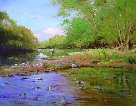 Fishing the Juniata-24X30-#4065 120.jpg