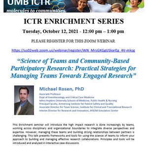 Clinical and Translational Research (ICTR) Enrichment Seminar on 10/22