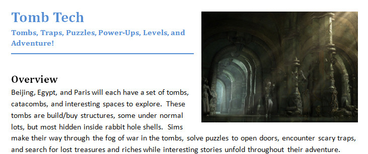 The Sims 3 design document for Tomb Tech from World Adventures, used as a good example of setting the mood with imagery