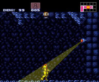And here's the energy tank in the ceiling that is the same in both games. When the player finds it in Super Metroid, it's super-satisfying.