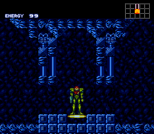 Super Metroid: You instantly recognize this spot from the original Metroid. The player immediately remembers the ball power-up to the left...