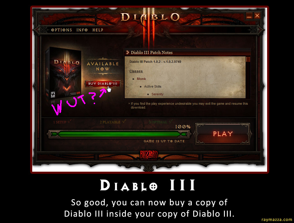Diablo III ad inside the Diablo III launcher