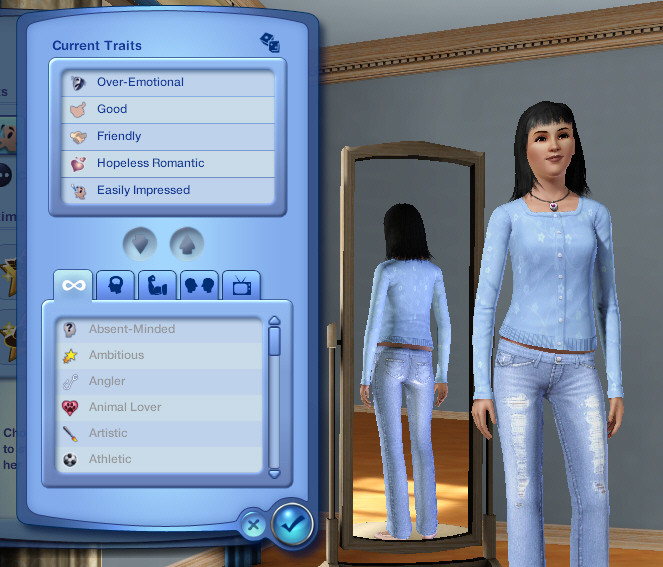 Character Trait chooser from The Sims 3