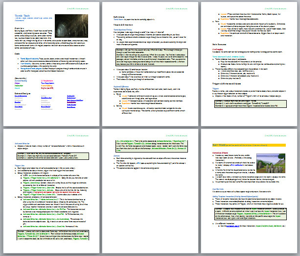 The Sims 3 Tomb Technology design document with very nice formatting