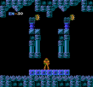 The original Metroid: This is the starting location of the game. Compare this to the next image...