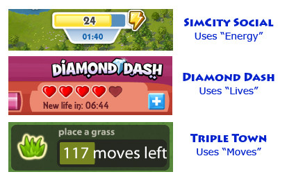 Energy Systems in SimCity Social, Diamond Dash, Triple Town