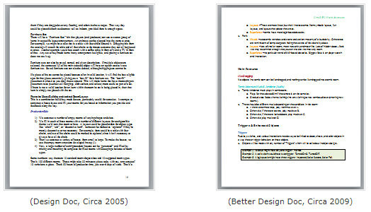 Sims 3 design docs side by side, bad formatting, good formatting