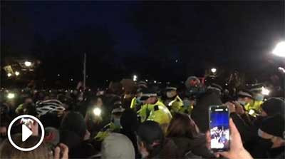 Sarah Everard memorial: Arrests as police clash with crowds at cancelled vigil