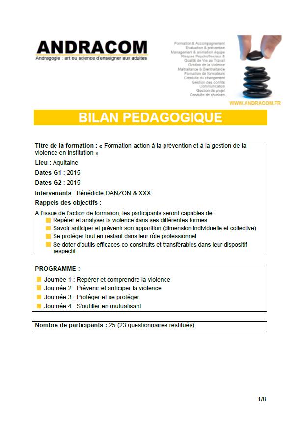 Bilan pédagogique - prévention & gestion