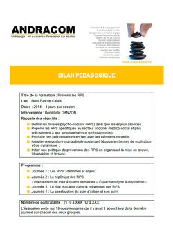 Bilan pédagogique - prévenir les RPS