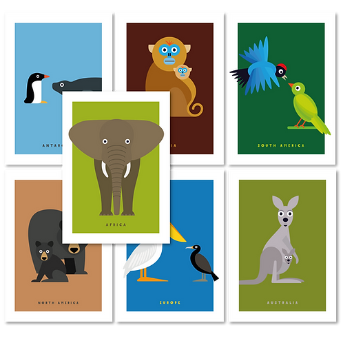 ANIMAL GREETINGS CARDS (PACK OF 7)