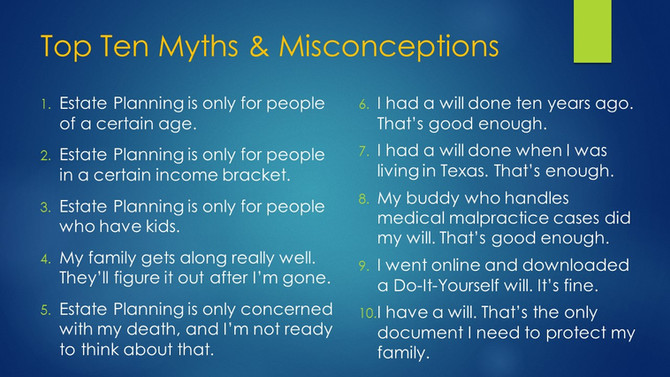 Top 10 Estate Planning Myths & Misconceptions