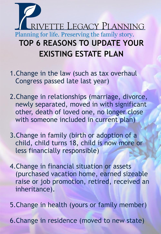 Top 6 Reasons to Update Estate Plan